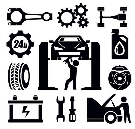 otomotiv: araba tamir simgesi Çizim