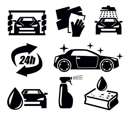 car wash icons Stock Vector - 19354292