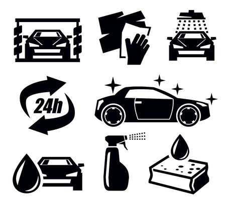 autolavaggio: lavaggio icone auto Vettoriali