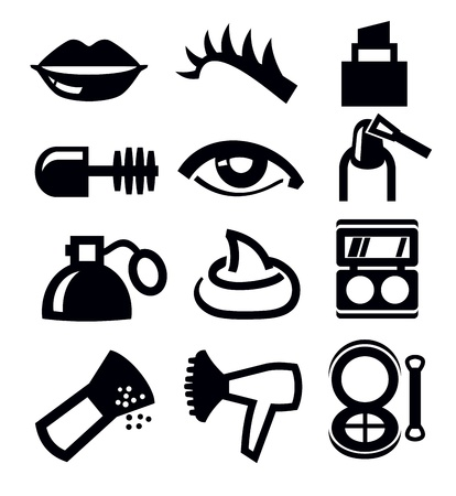 cosmetics collection:  cosmetics and makeup icon Illustration