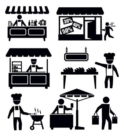 bancarella: mercato e lo shopping Vettoriali