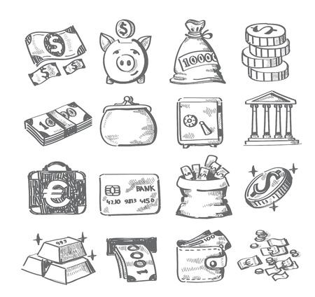 piggy bank: hand draw money