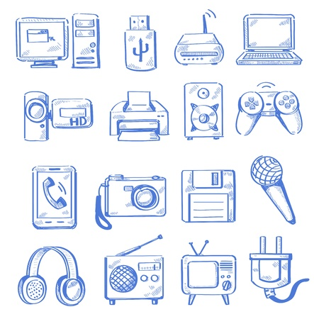 doodle art clipart: hand draw electronic Illustration