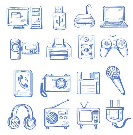 esboço: hand draw eletr Ilustração