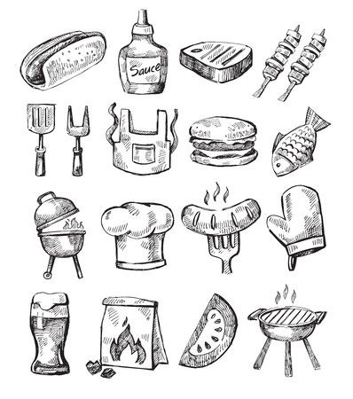 grill meat: main dessiner barbecue