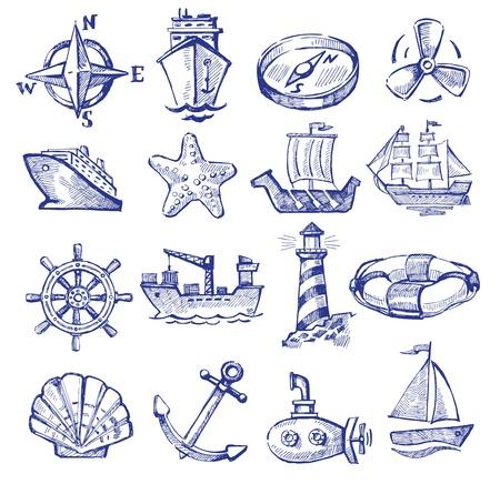 oceano: barco dibujado a mano y el buque Vectores