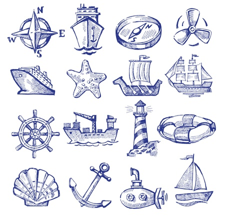 hand drawn boat and ship Stock Vector - 20246070