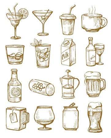 alcoholist: hand getrokken dranken Stock Illustratie