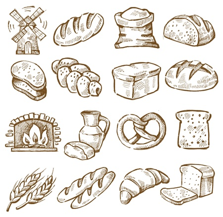 croissants: hand drawn bread