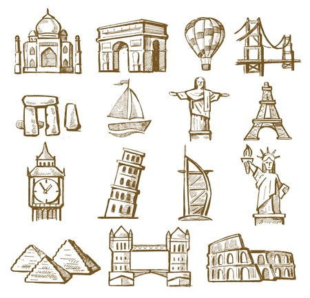 statue of liberty: vector hand drawn landmarks icons set on white
