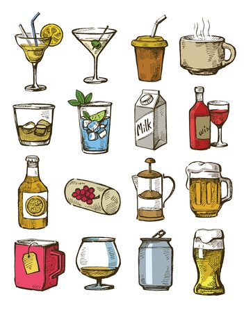 coke bottle: vector hand drawn beverages icons set on white