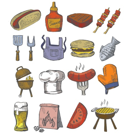 chorizos asados: mano vector icono barbacoa sorteo establecido en el blanco