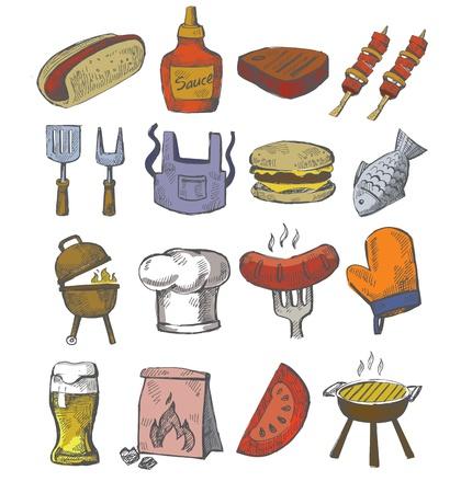 worsten: vector hand barbecue pictogram draw ingesteld op wit