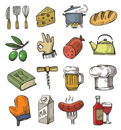 recipe book: vector hand drawn kitchen icons set on white