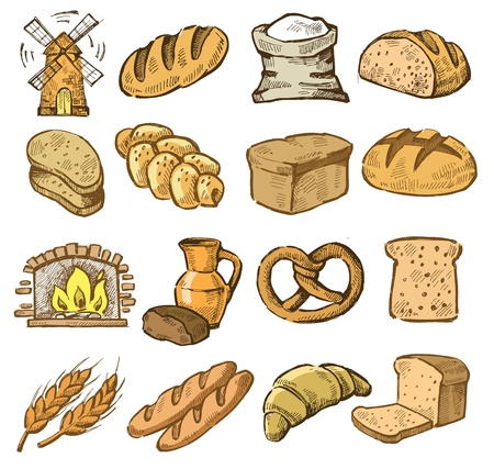 flour mill: vector hand drawn bread icons set on white