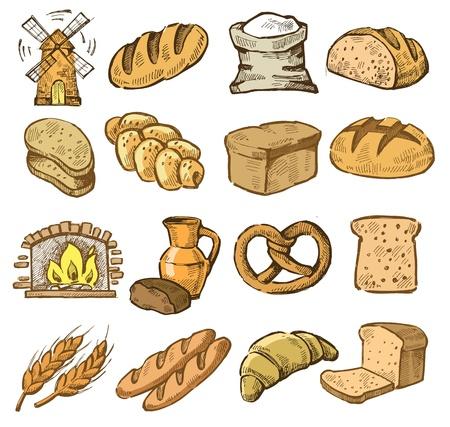 harina: vector iconos de pan elaborados establecido en el blanco Vectores