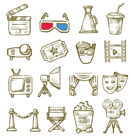 pg: vector hand drawn film icons set on white