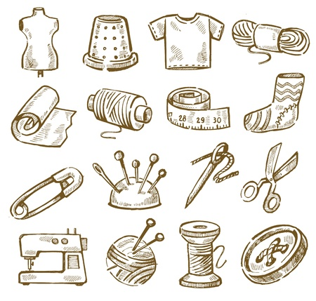 vector hand drawn sewing icons set on white Vector