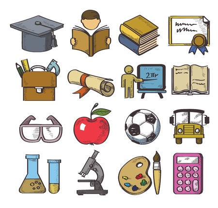 vector hand drawn education icon set on white Stock Vector - 21438328