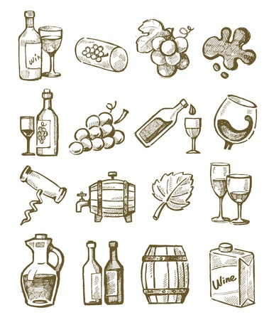 corkscrew: vector hand draw wine icons set on white Illustration