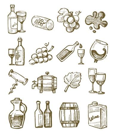 barrels set: vector hand draw wine icons set on white Illustration