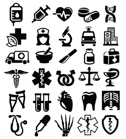 medical heart: vector black medical icons set on white Illustration
