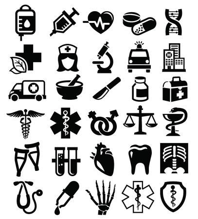 ICONO: Vector médica iconos conjunto negro sobre blanco