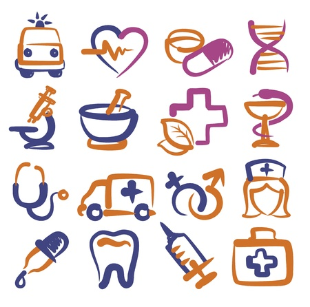 vector color medical icons set on white Vector