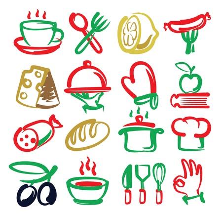 kuchnia: kolorowe ikony wektorowe kuchenne ustawiony na białym Ilustracja