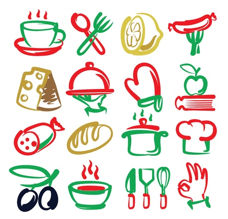 vector color kitchen icons set on white Vector