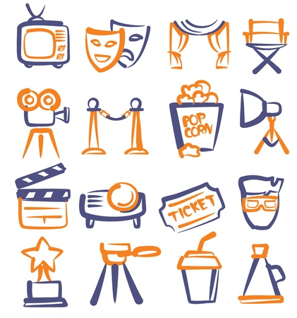 vector hand drawn film icons set on white Vector