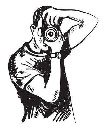 El fotógrafo de vector dibujado a mano en negro sobre blanco Foto de archivo - 21745892