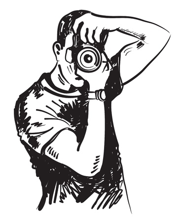 vector black hand drawn photographer on white Ilustração