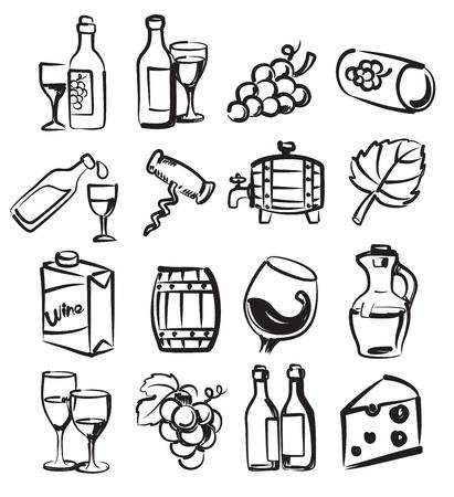 vinho: mão ícones vinho empate do vetor ajustados em branco