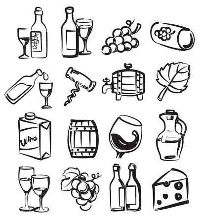vector hand draw wine icons set on white Çizim