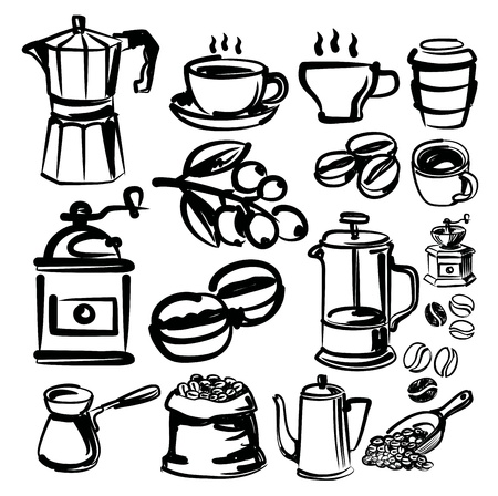 vector hand drawn coffee icons set on white Vector