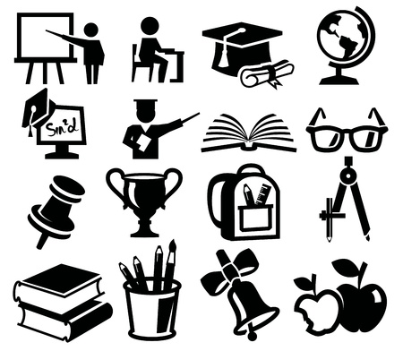 higher: vector black icon set of education on white