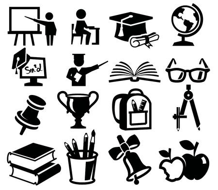 vector icono negro conjunto de la educación en el blanco