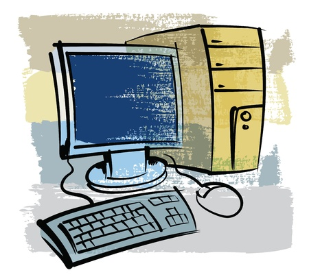 vector hand drawn color computer on color background Vector