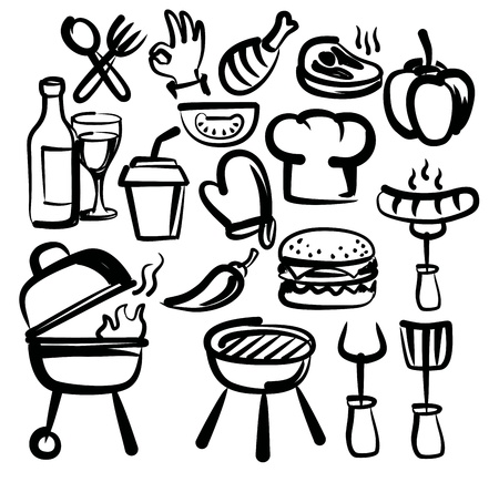 vector hand drawn barbecue icons set on white Illustration