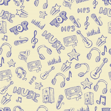 vector hand drawn of music icons set Vector