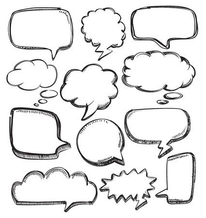 nubes caricatura: vector globos de texto dibujados a mano en blanco