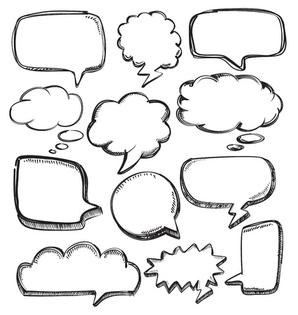 inked: vector hand drawn speech bubbles on white Illustration