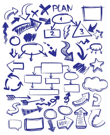 flecha direccion: vector dibujado a mano flechas iconos conjunto sobre fondo blanco