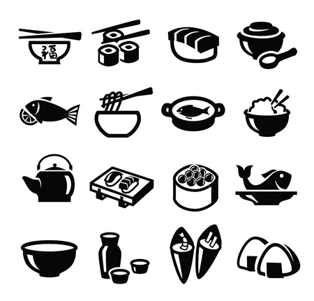 food icon set: vector black japan food icon set on white