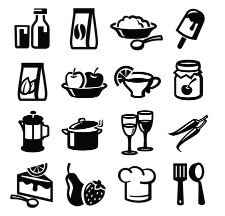 lunch meal: vector black food icon set on white Illustration