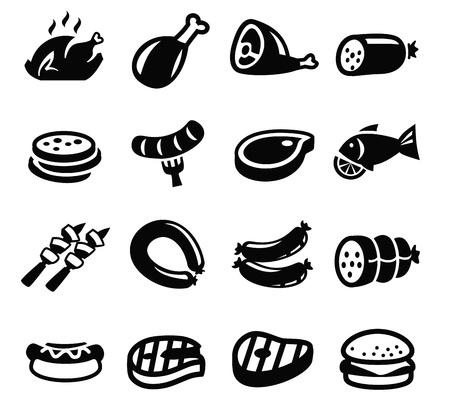 vector zwart vlees en worst pictogram ingesteld op wit