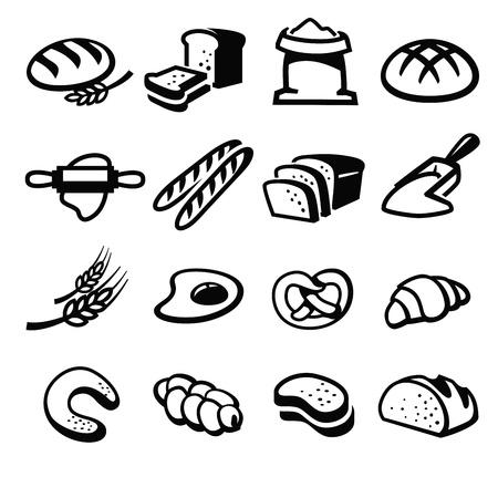 буханка: вектор черный хлеб набор иконок на белом Иллюстрация