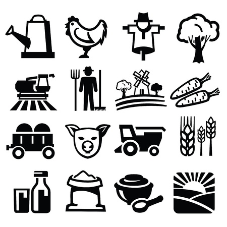 agriculture icon: vector black farm icon set on white