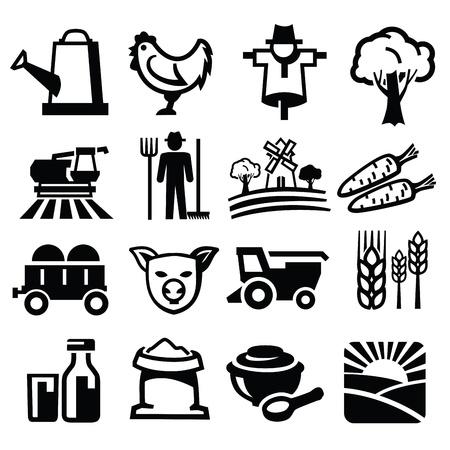 landwirtschaft: Vektor schwarzen Bauernhof-Symbol auf weißem gesetzt